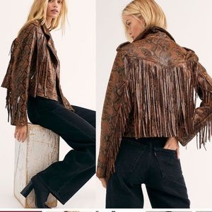 BLANK NYC  animal print  fringe jacket